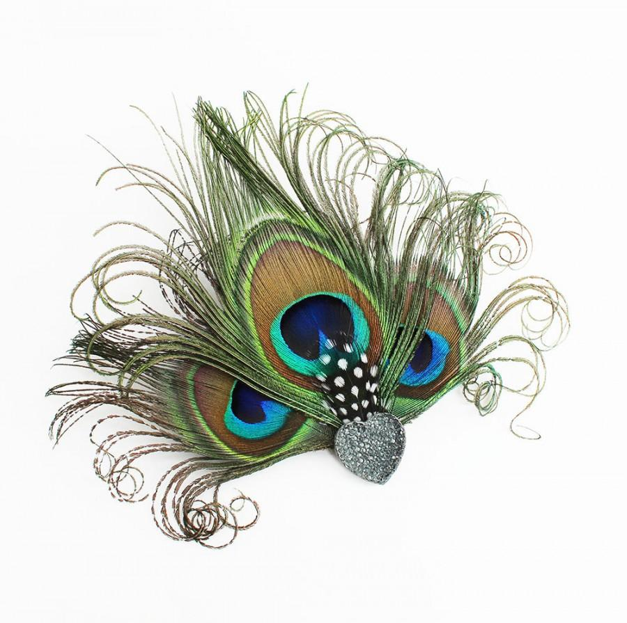 ecbc9ef46c485 Peacock Feather Fascinator - Heart Hair Accessory - Bridesmaids Head Piece  - Hair Clip - Girls Dance Costume Accessory - Great Gatsby