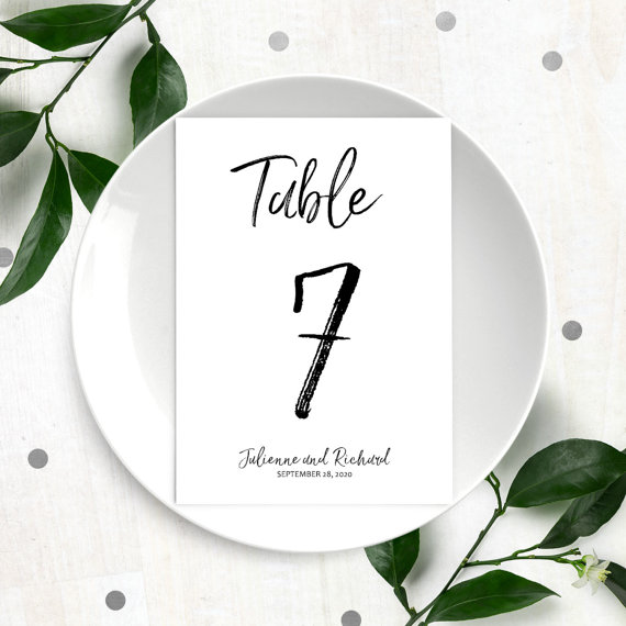 Mariage - Hand Lettered Table Numbers for Wedding-DIY Printable Calligraphy Personalized Table Numbers-Handwritten Script Style Table Number Cards
