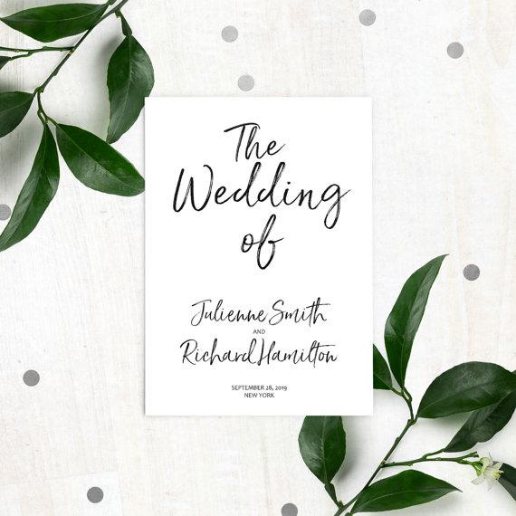 Wedding - Stylish Hand Lettered Printable Wedding Programs-DIY Calligraphy Flat Wedding Program-Handwritten Style Ceremony Program-Ceremony Order