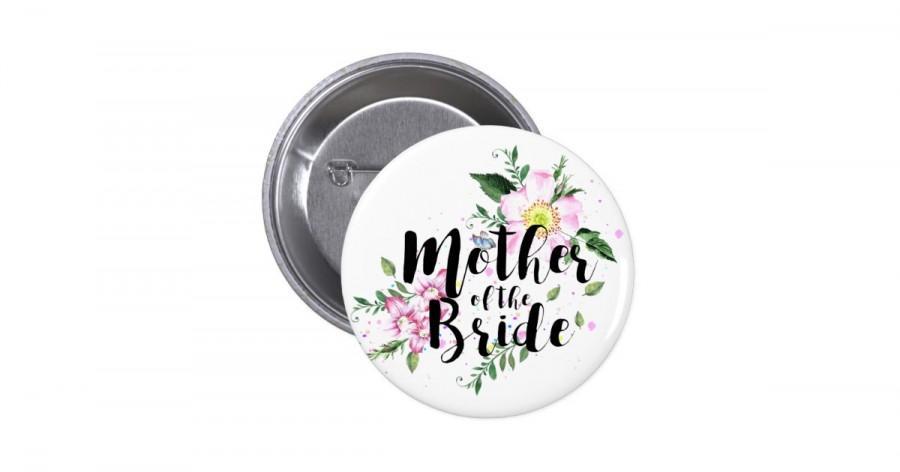 زفاف - Mother of the Bride Floral Watercolor Wedding Pinback Button