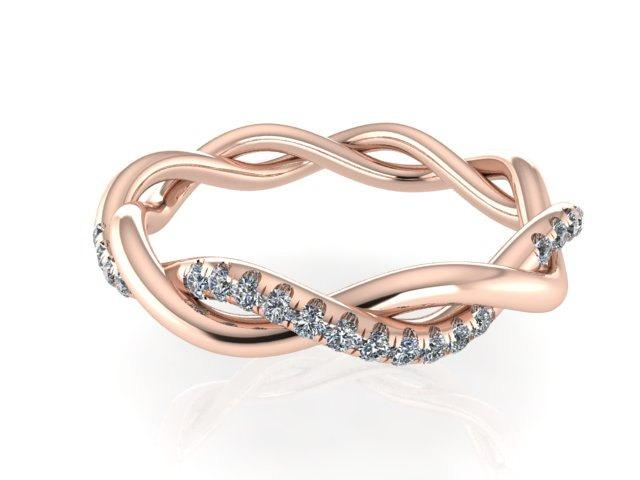 Wedding - Diamond  Bands, Bridal  Wedding Band,  14k Rose Gold Wedding and Engagement Rings, Rose Gold Braided Eternity Band