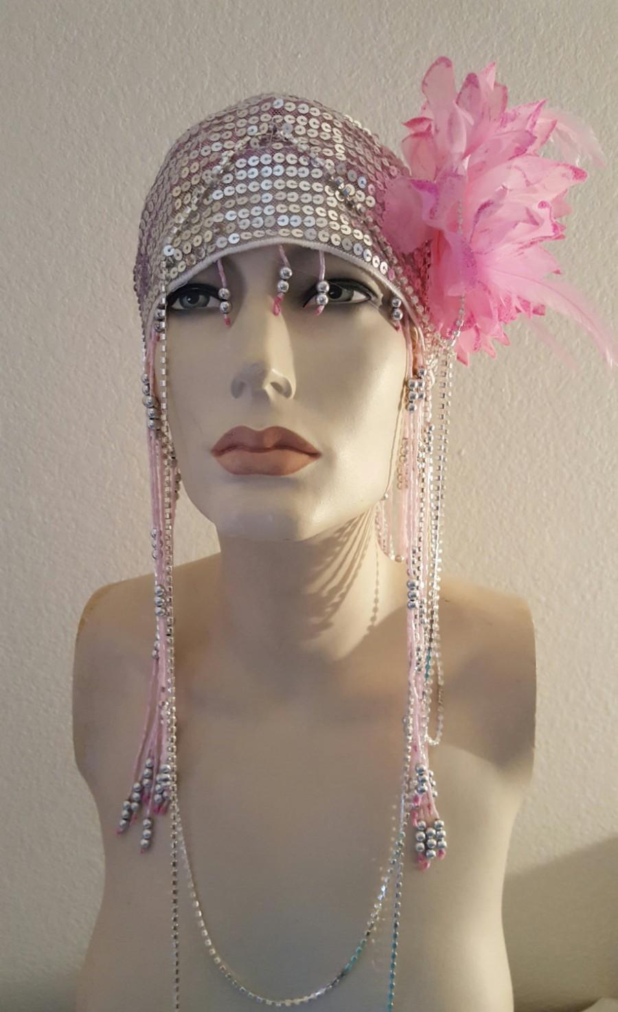 Pink Beaded Organza Flapper Gatsby Silver Sequin Crystal Bridal Headband  Headpiece Wedding Party Costume b9a7e76f1a2