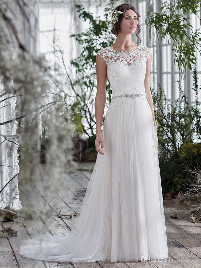 Свадьба - New Arrival Sexy Illusion Lace Neckline Wedding Dresses Crystal Beaded Sash Bridal Gowns Appliques A-Line Wedding Dress Zipper 2017 Lace Luxury Illusion Online with $148.58/Piece on Hjklp88's Store