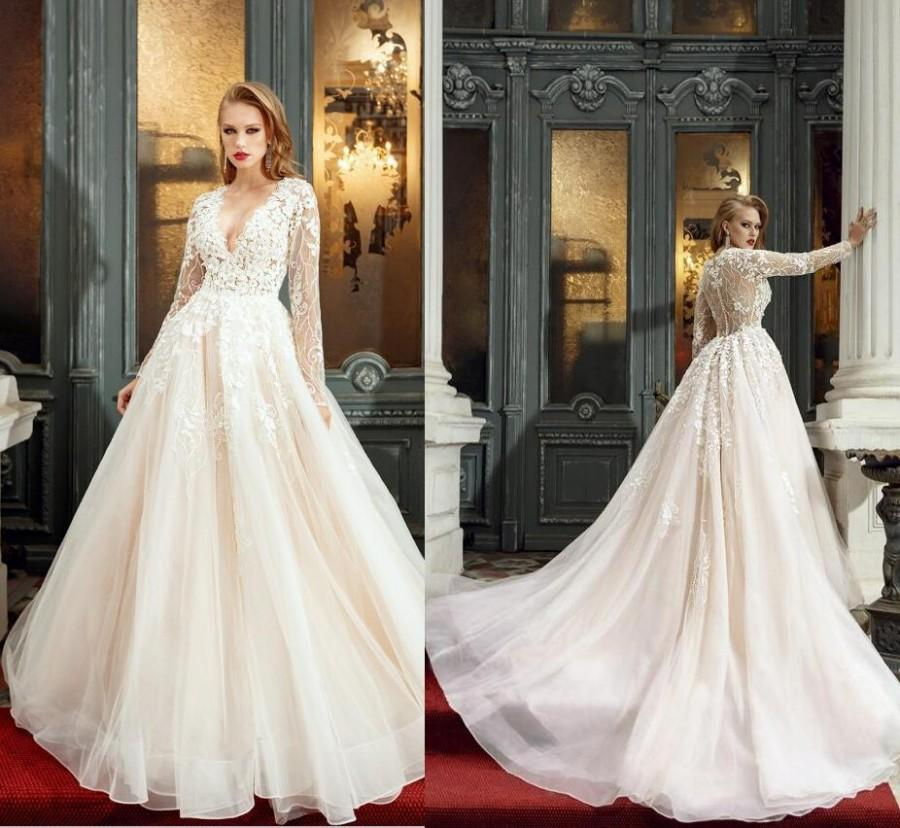 ce6aedc1d9 Sexy Deep V-Neck Long Sleeves Wedding Dresses Lace 3D Applique Beading Bridal  Gown Illusion A-Line Wedding Dress Sheer Back 2017 New Arrival Lace Luxury  ...