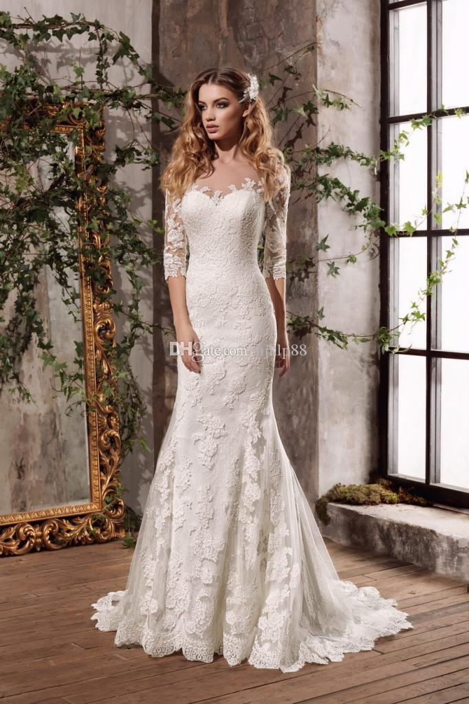 Свадьба - New Lace Mermaid Wedding Dresses Illusion Sleeve Sheer Neck/Back Appliques Bridal Gowns Vestidos De Novia Lace Luxury Illusion Online with $160.0/Piece on Hjklp88's Store