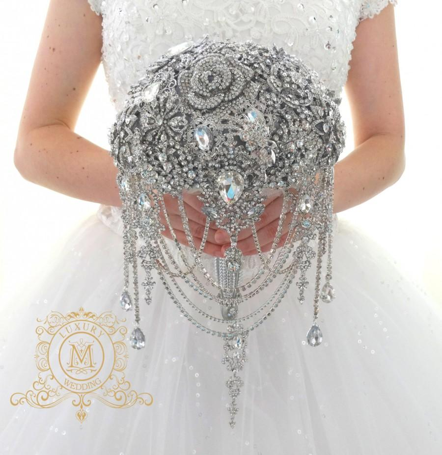 Wedding - Silver BROOCH BOUQUET. Luxury cascading full jeweled stunning Gatsby broch bouqet, unique wedding bridal bouquet