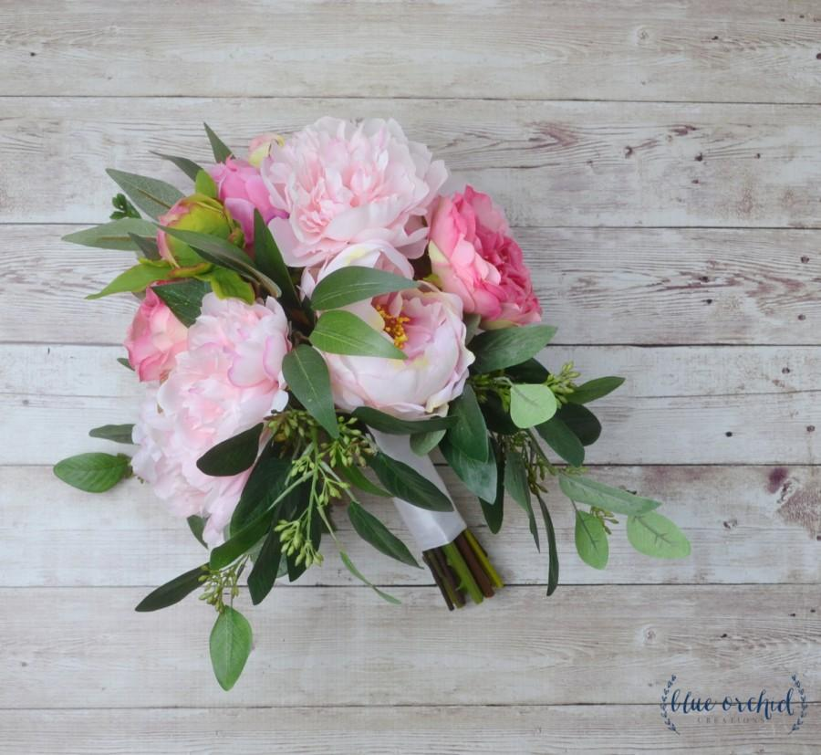 Wedding - pink peony bouquet, eucalyptus bouquet, hot pink peony bouquet, hot pink bouquet, bright pink peonies, blush pink bouquet, tropical bouquet