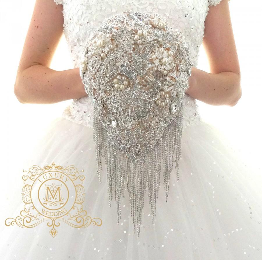 Champagne Teardrop Cascading Brooch Bouquet Ivory Royal Glamour