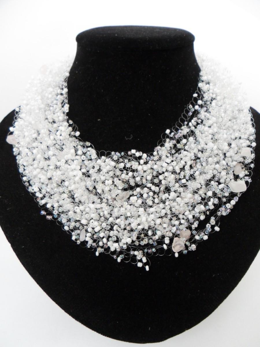 Hochzeit - Rose quartz white necklace multistrand crochet bride bradesmaid white casual airy unusual cobweb gift for her natural stone gemstone jewelry