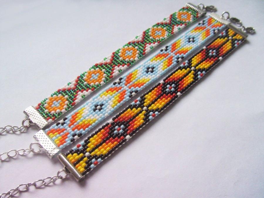 Hochzeit - Jewelry beaded bracelet Seed bead jewelry Gift for her handmade jewelry Seed bead bracelet thin bracelet native american pattern gift chain