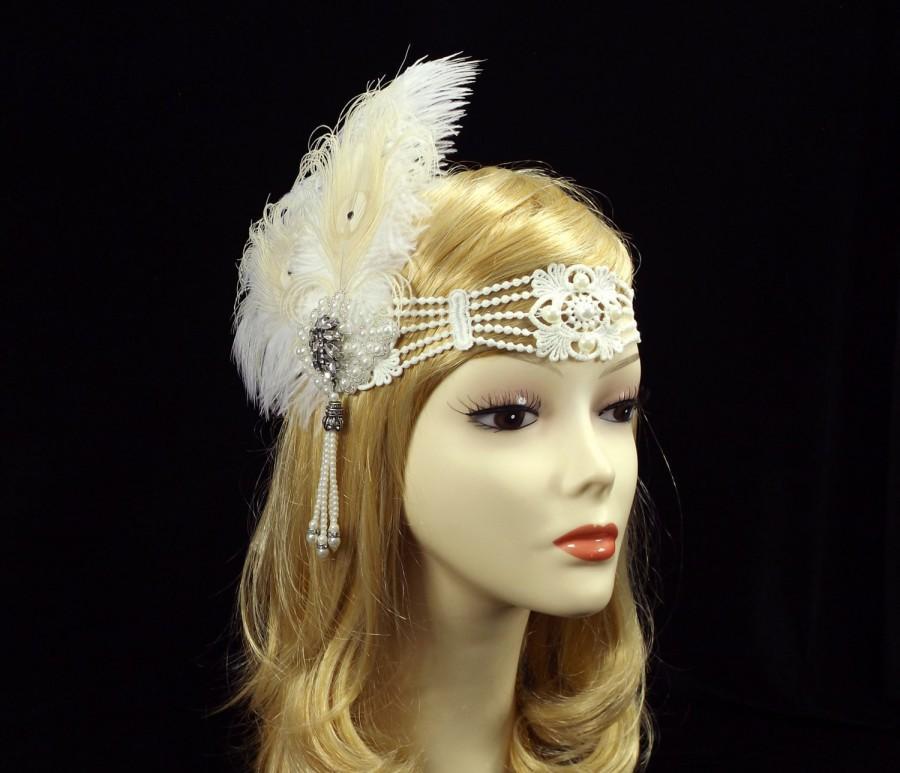 Wedding - GATSBY Flapper Feather Headband, 1920s Flapper Headpiece, Roaring 20s Headpiece, bridal wedding headband, Art Deco Headband