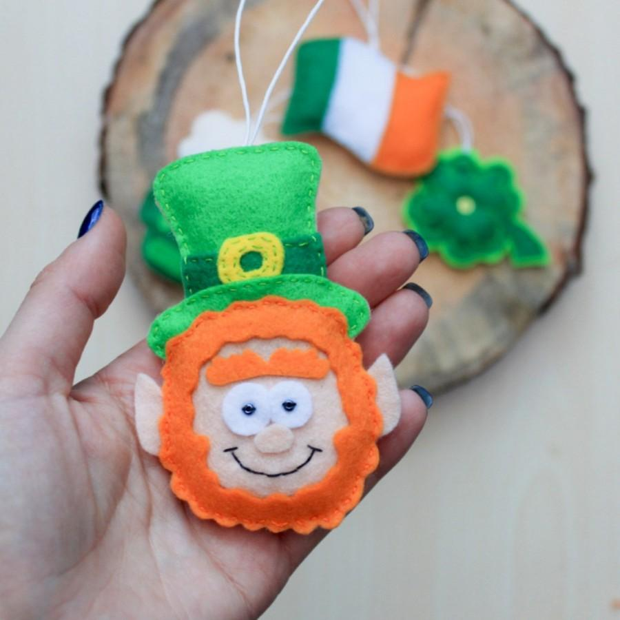 Wedding - Felt leprechaun -,St. Patrick's day ornaments - felt hanging ornament - felt magnet