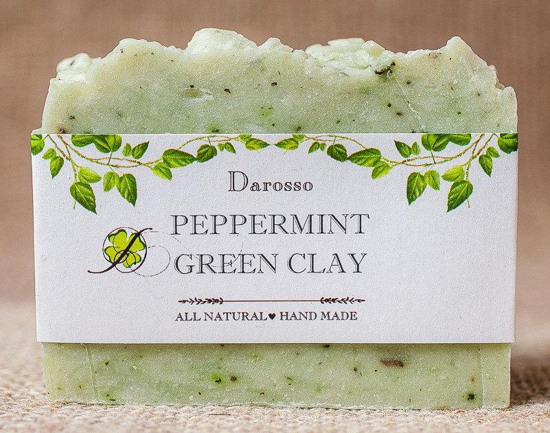 Wedding - Peppermint soap with green clay, Four leaf clover, St. Patricks Day gift, Gift for him, Gift for her, Lucky soap, Luck of the Irish, soap