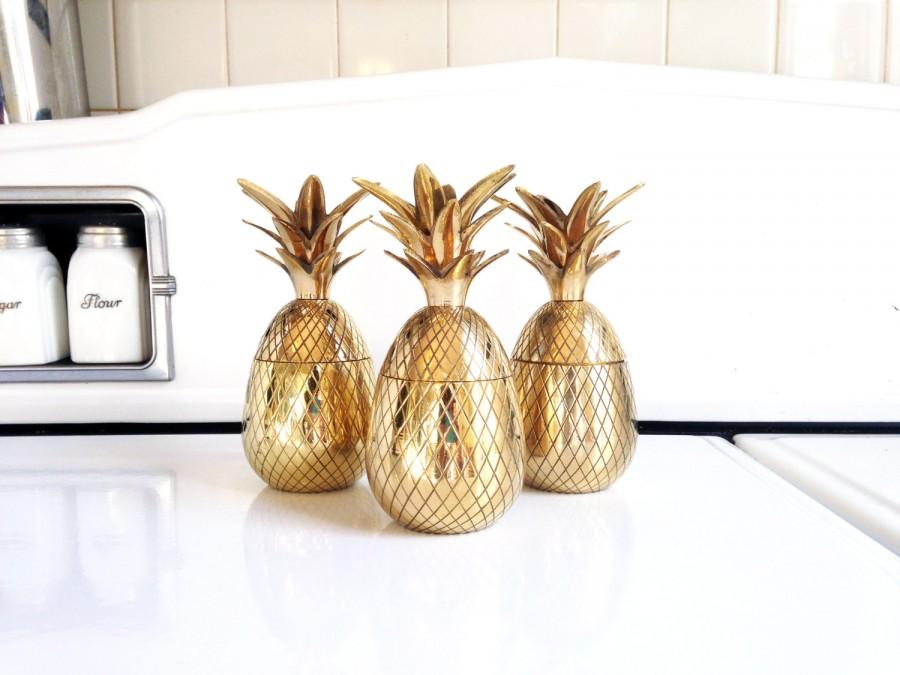 "Wedding - 7"" Tall Vintage Brass Pineapple Box / Candle Holder"