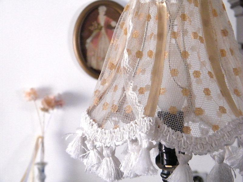 Wedding - Shabby chic lamp,Fabric lace Lampshade, Home decor , Lace Table lamp in gold tull, Retro Living room lights, Country Freanch  decor