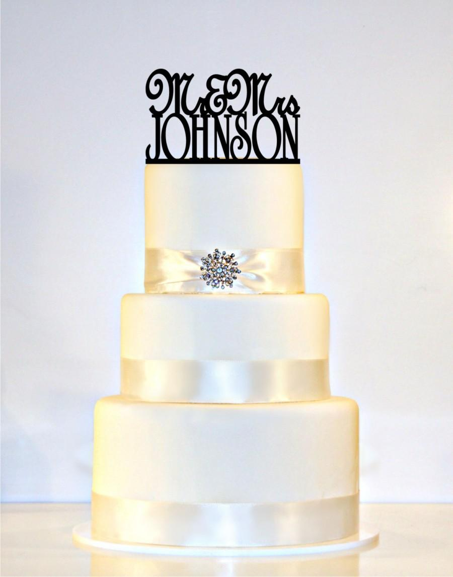"Wedding - Wedding Cake Topper Or Sign Monogram  personalized with ""Mr & Mrs"" and YOUR Last Name"