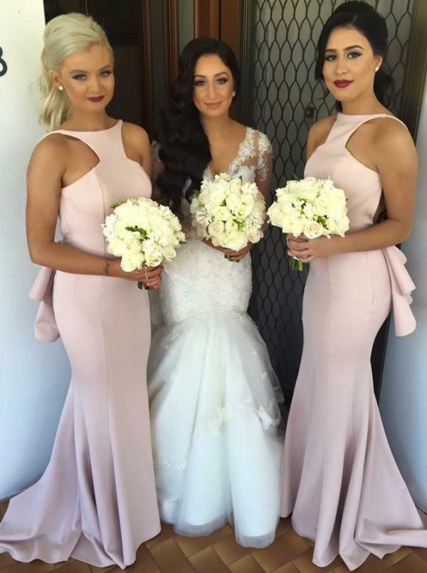 Wedding - Sexy Mermaid Long Pink Bridesmaid Dress With Open Back on Luulla