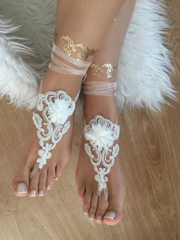 Wedding - beach wedding barefoot sandals ivory lace barefoot sandals, FREE SHIP, belly dance, lace shoes, bridesmaid gift, beach shoes