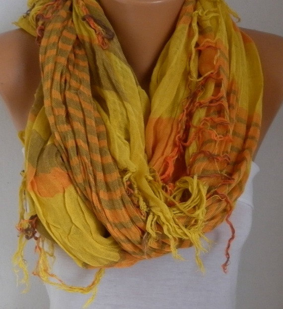 Wedding - Mustard&Orange Plaid Scarf Soft Winter Accessories Oversize Tartan Scarf Shawl Cowl Scarf Cotton Scarf Gift Ideas For Her Women Fashion