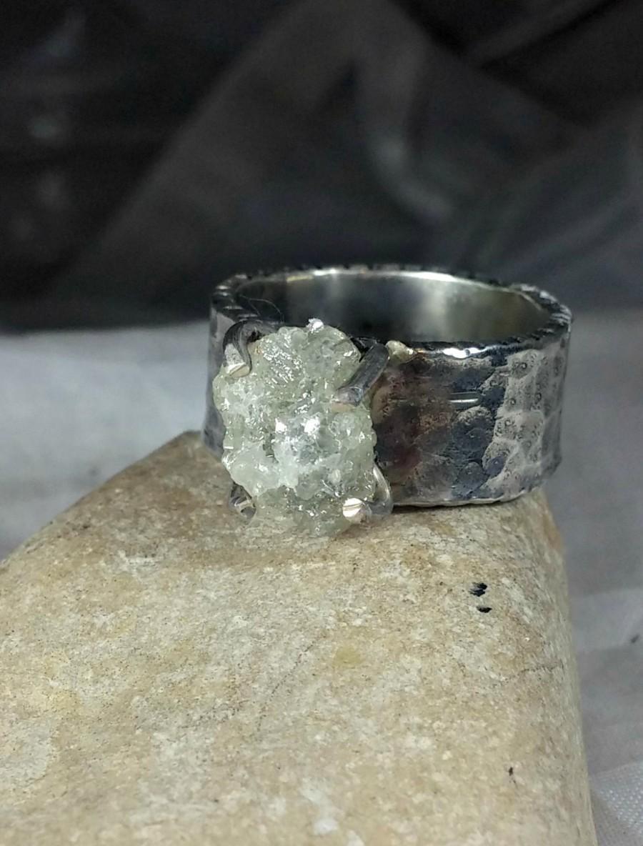 Mariage - 5.6 carat rough diamond ring, engagement ring, white raw diamond ring in rustic silver,April birthstone ring