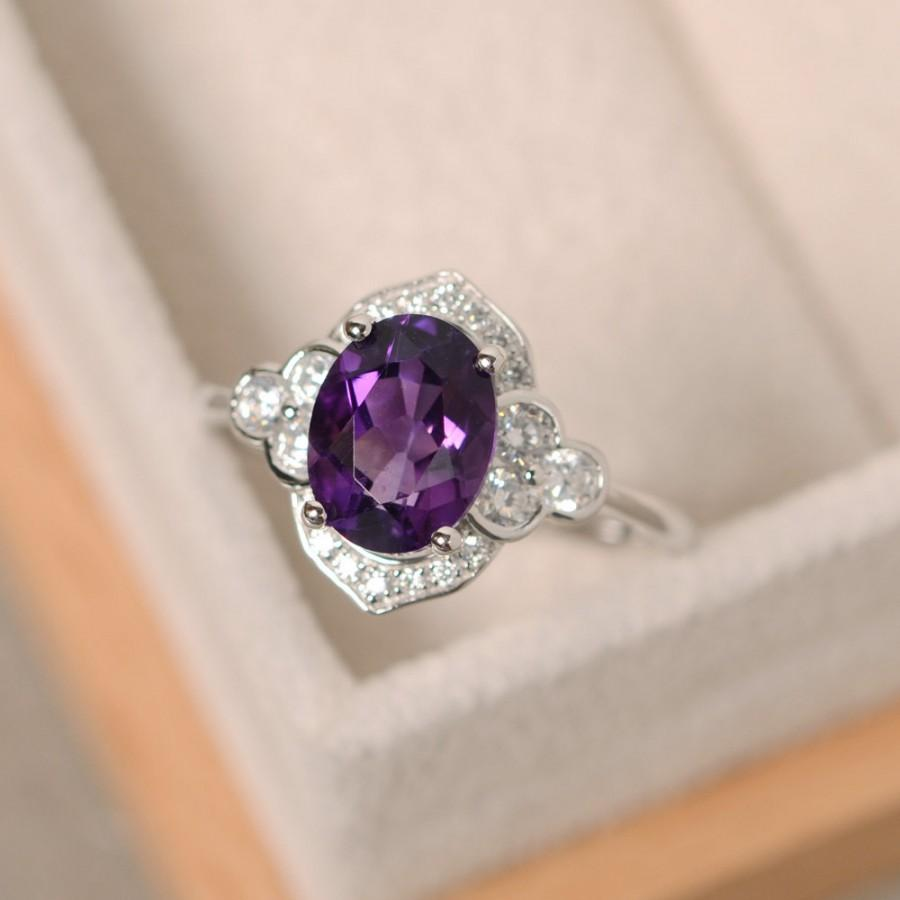 Wedding - Purple amethyst ring, sterling silver, oval cut engagement ring