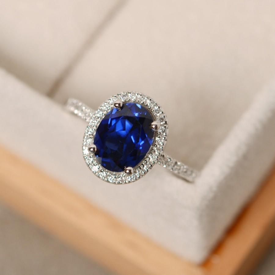 Wedding - Halo engagement ring, sapphire ring, oval cut, blue gemstone, sterling silver