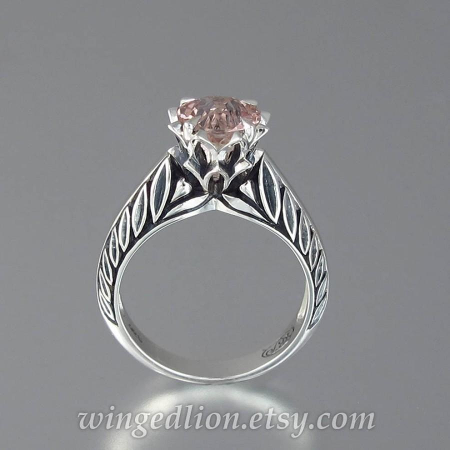 Wedding - EDELWEISS silver ring with Morganite