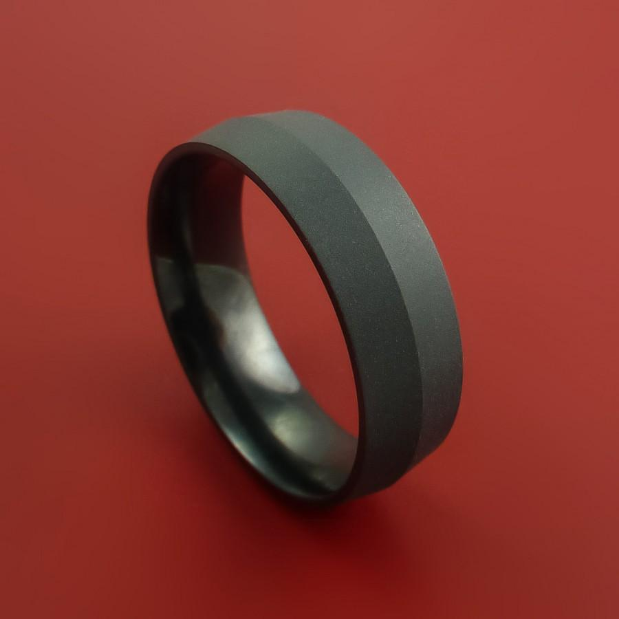 Wedding - Black Zirconium Ring Modern Style Band Made to Any Sizing and Finish
