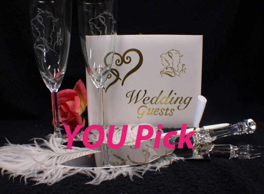 Wedding - Beauty and the Beast Modern Wedding YOU PICK Glasses or Knife set or Guest Book Regular or Personalized