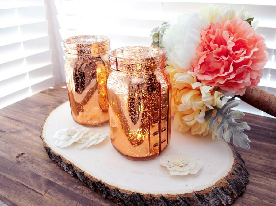 Wedding - SET OF 12 Copper Rose Gold Mercury Glass Mason Jars Vase Mercury Glass Candle Holder Vase Rose Gold Mason Jar Copper Mercury Glass