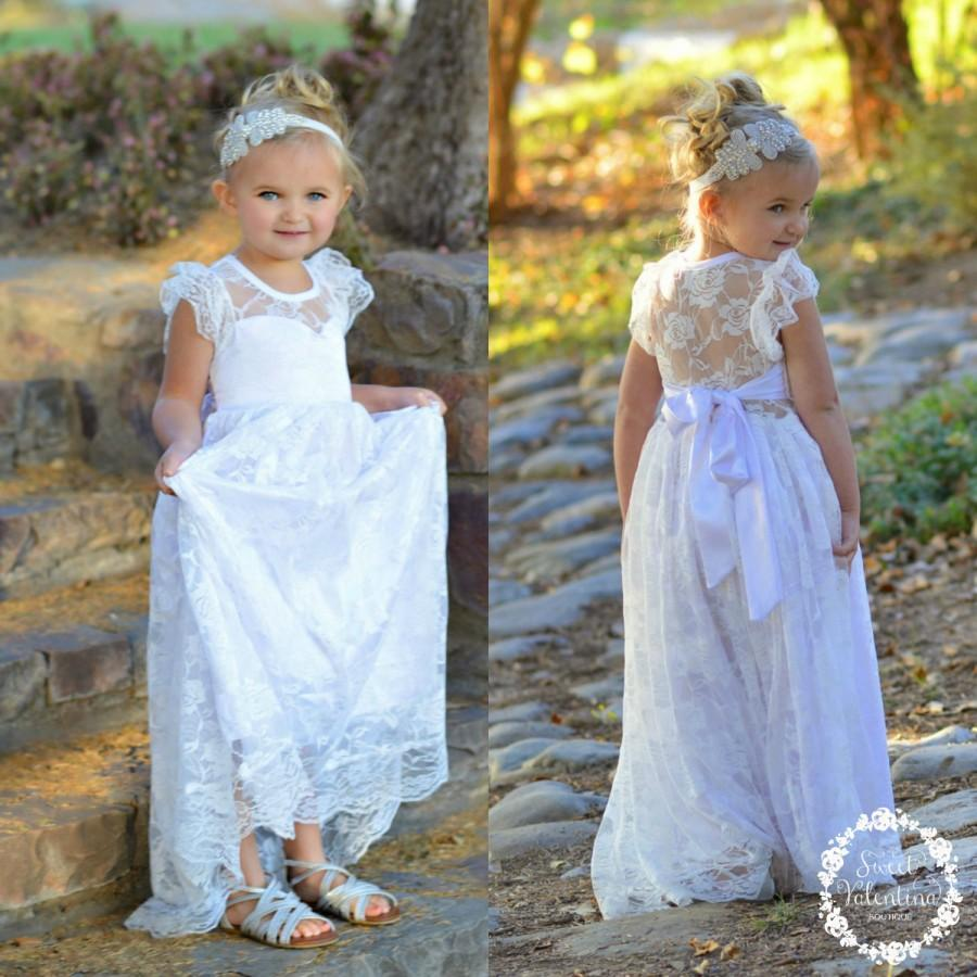 Mariage - Lace girl dress, flower girl dress, flower girl lace dresses, country lace dress,white  toddler dress, ivory lace dress, Rustic flower girl