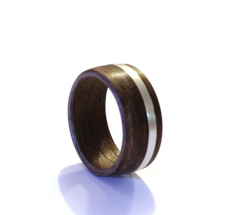 Wedding - Mens Ring, Wood Wedding Ring, Sterling Silver Wedding Ring, Wide Mens Band With Sterling Silver Inlay