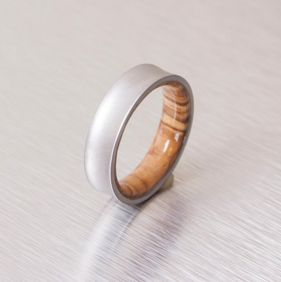 Wedding - Mens Wood Wedding Band with Titanium Ring woman man ring olive ring