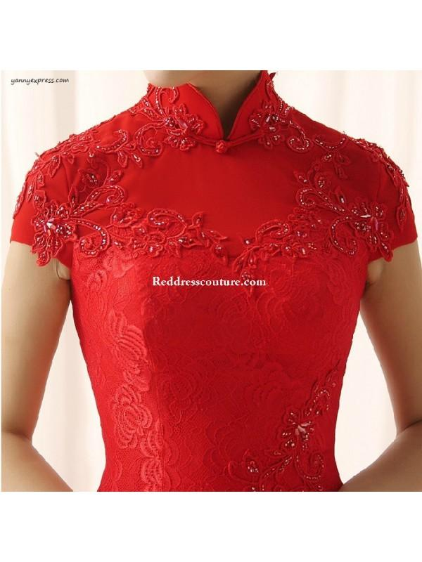 Wedding - Chinese Wedding Ball Gown Bridal Cheongsam Long Prom Qipao Prom Dresses - Reddresscouture.com