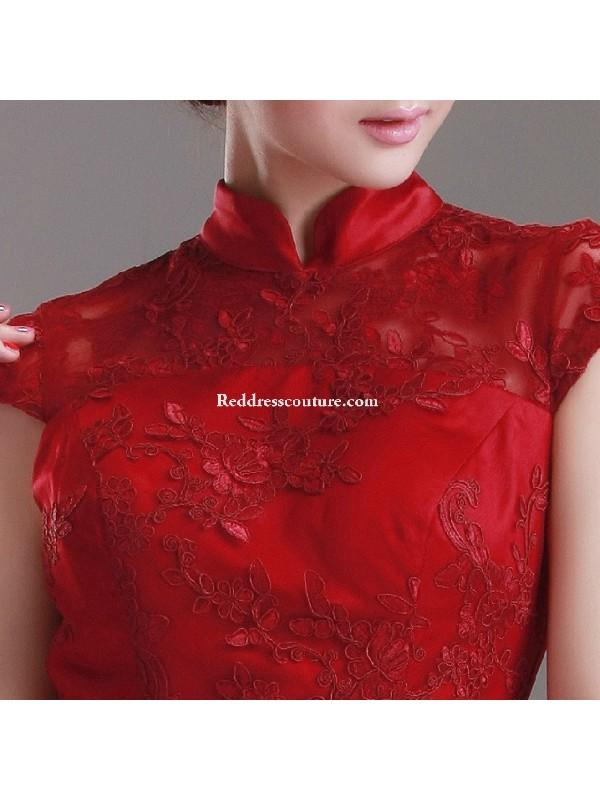 c84ca15eca4 Chinese Wedding Ball Gown Crimson Bridal Qipao Long Prom Dress Prom Dresses  - Reddresscouture.com