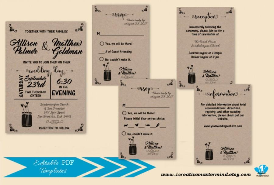 زفاف - Wedding Invitation Template DIY, Kraft Invitation, Rustic Wedding, Mason Jar, Printable Invitation, Instant Download, Flower of Love 1CM86-1