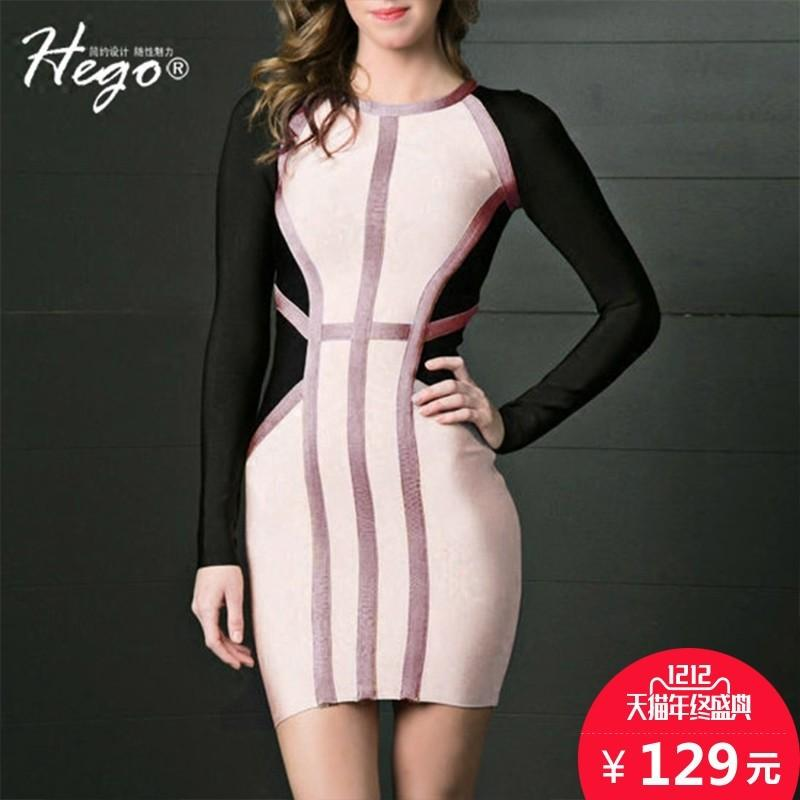 Wedding - Autumn new slim t elegance mixed colors simple professional women long-sleeved bandage dress - Bonny YZOZO Boutique Store