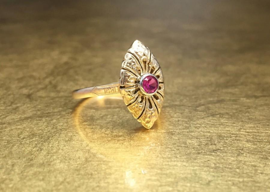 Wedding - Ruby Antique Engagement Ring