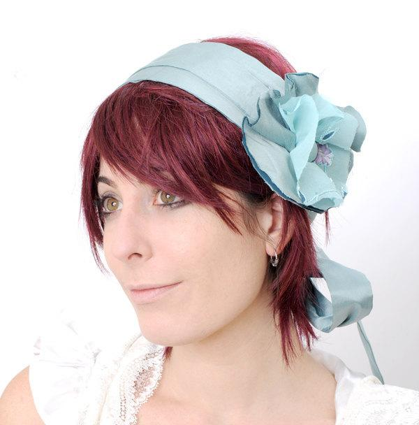 Mariage - Blue floral headband, Blue headpiece, blue headwrap, Something blue, Light blue floral headpiece, Wedding headband