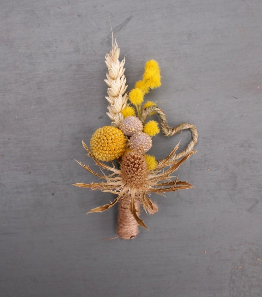 Wedding - Dried Floral Rustic Wedding Boutonniere, Buttonhole, Thistle ,Craspedia, Mimosa, Heart, Everlasting Keepsake