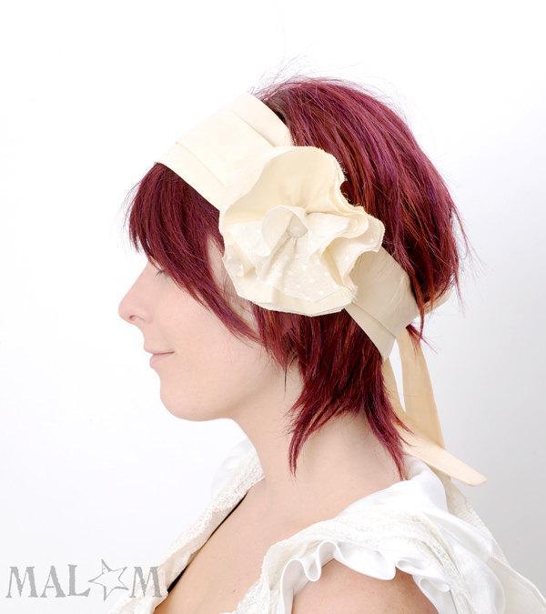 Wedding - Floral Wedding Headpiece - peach flower headband - Couture fashion accessory