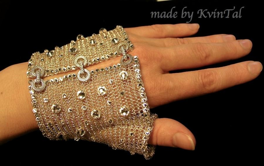 Свадьба - Diamond Mesh Glove. Half glove. Bridal glove. Handmade wire crochet mesh glove. Swarovski crystals jewelry.