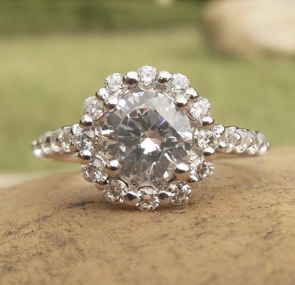 Wedding - Round 5.75MM Diamond Engagement Ring, 14k White Gold, Semi Mount Ring