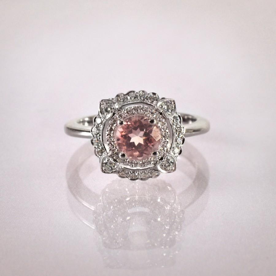 Wedding - Morganite Engagement Ring , Engagement Rings, Unique Engagement Ring , Vintage Engagement Ring , Wedding Ring, Pink Stone Engagement Ring