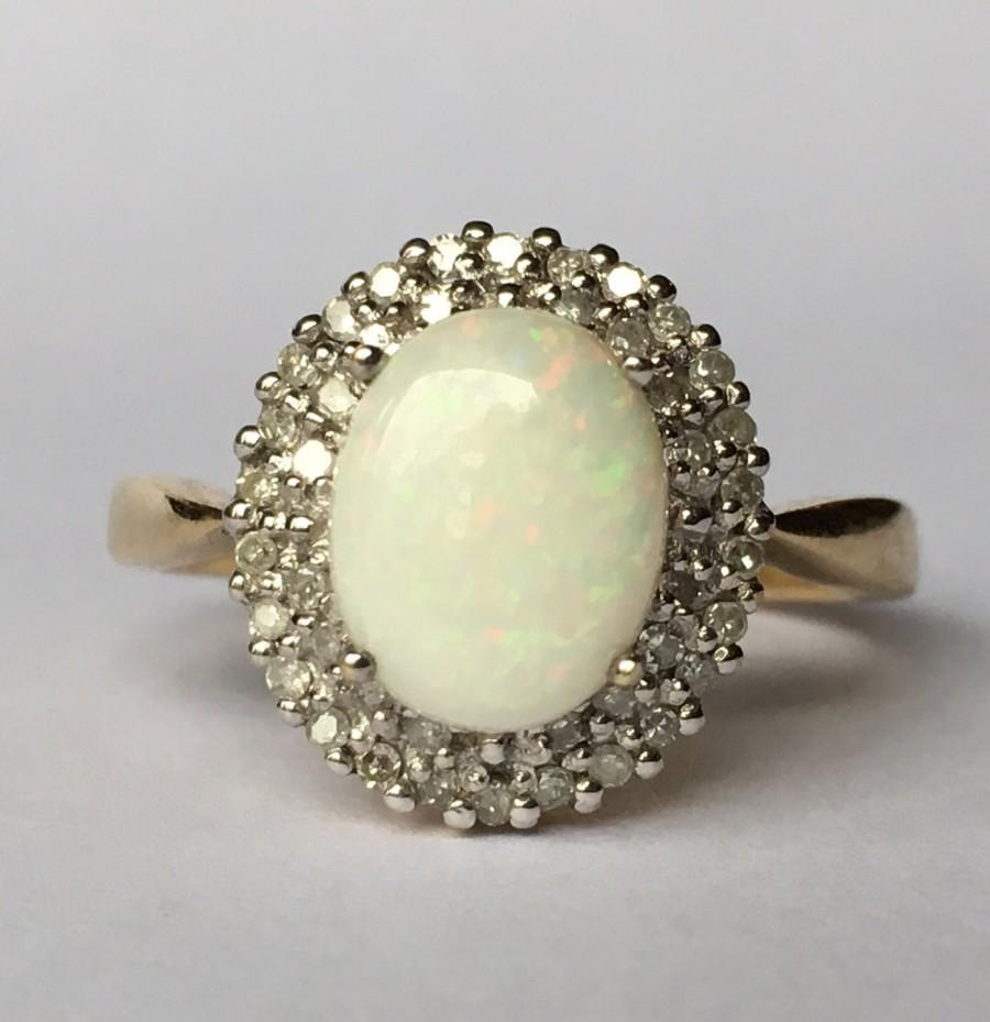 Wedding - Antique Opal Engagement Ring. Diamond Halo Ring. 9K Gold. Unique Engagement Ring. October Birthstone. 14th Anniversary. Estate Jewelry.