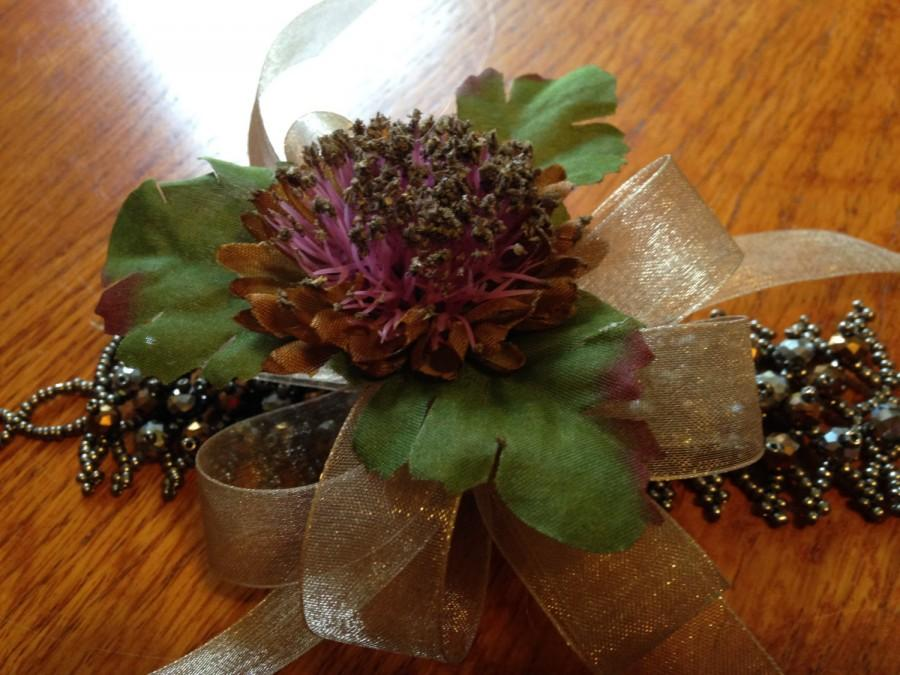 Wedding - Purple Mountain Cornflower Keepsake Wrist Corsage - Mother of the Bride - Wedding Corsage - Prom Corsage - Wristlet Corsage - Bling Bracelet