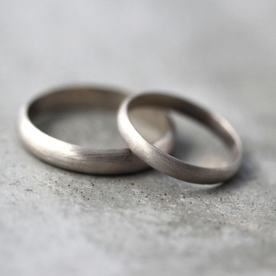 Wedding - Gold Wedding Band Set, His and Hers 4mm and 3mm Brushed Half Round 14k Recycled Palladium White Gold Wedding Ring Set  -  Made in Your Sizes