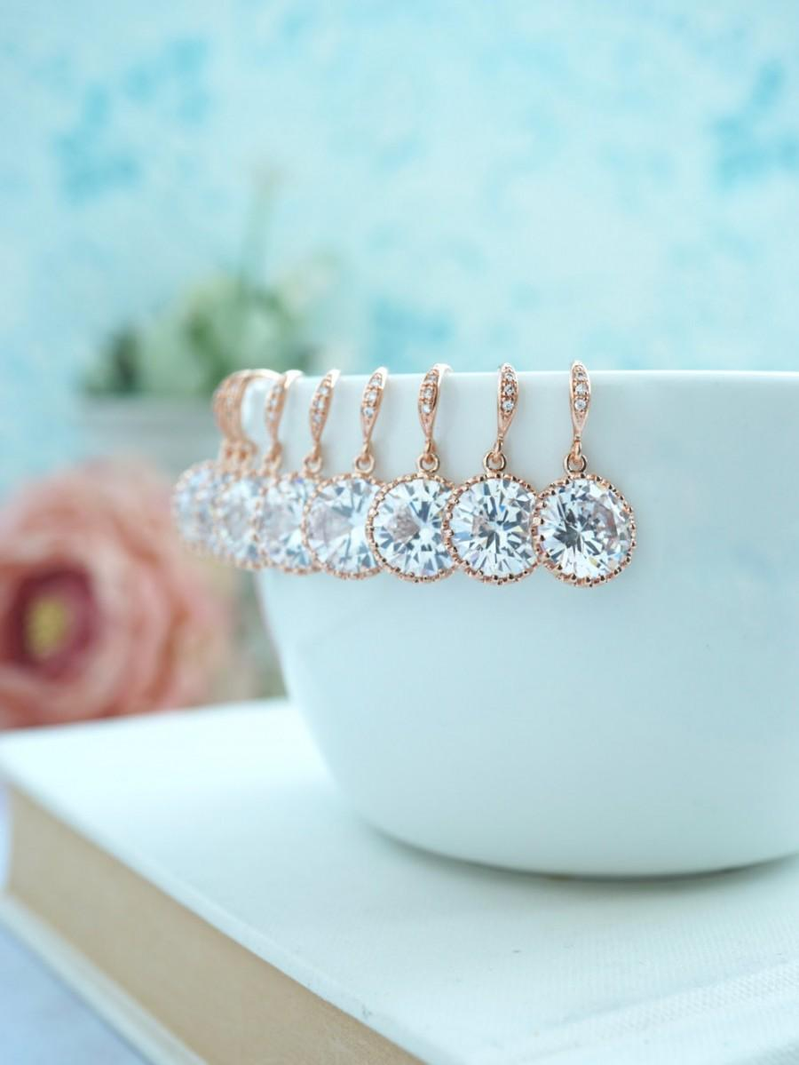 Wedding - Rose Gold Bridesmaid Earrings 15% OFF Sale - Set of 7, Seven Pairs Earring. Rose Gold Earring Round Cubic Zirconia Earring. Bridesmaids Gift