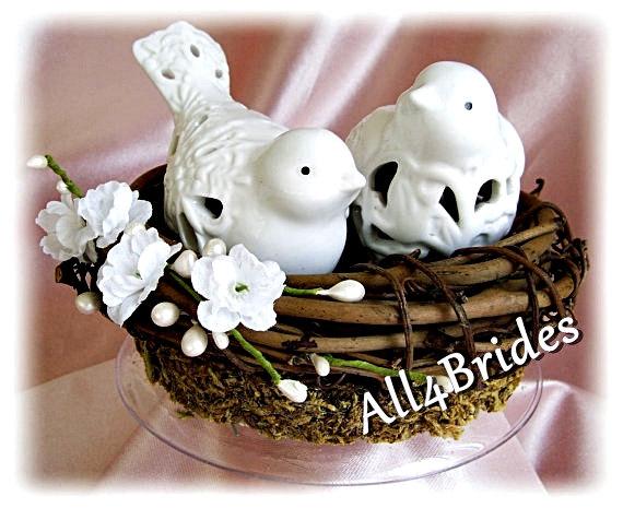 Mariage - Rustic wedding cake topper, love birds cake topper, bird nest rustic or garden weddings cake topper