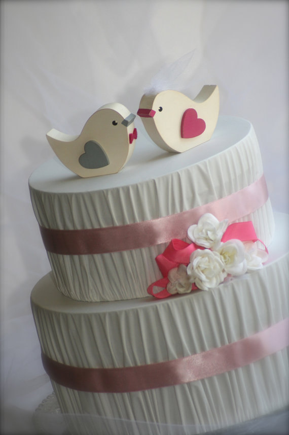 Hochzeit - Love Birds Wedding Cake Topper Rustic Wedding Woodland Wedding Bird